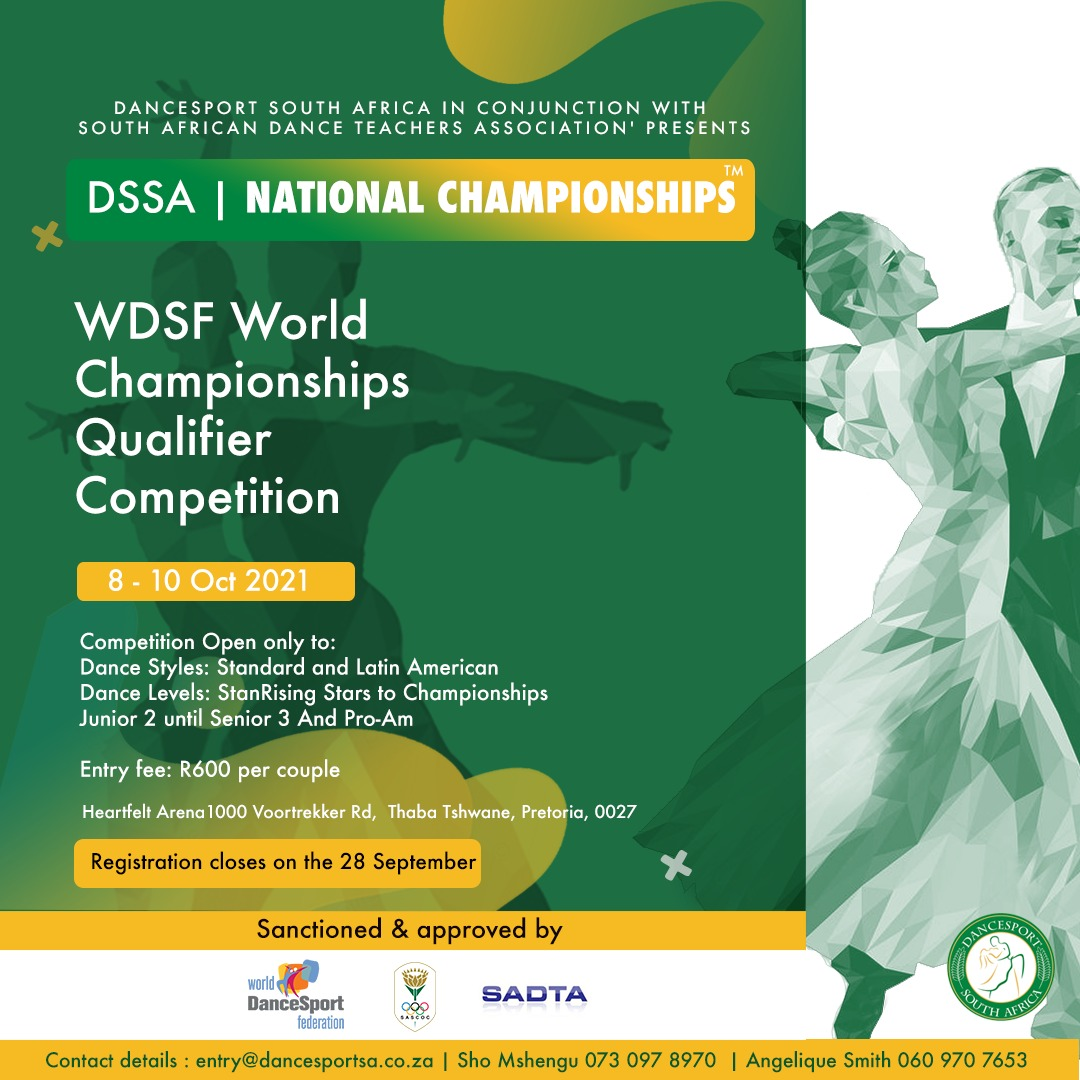 You are currently viewing DanceSport South Africa in conjunction with SADTA will hold the 2021 Ballroom and Latin American DSSA National Championships ™