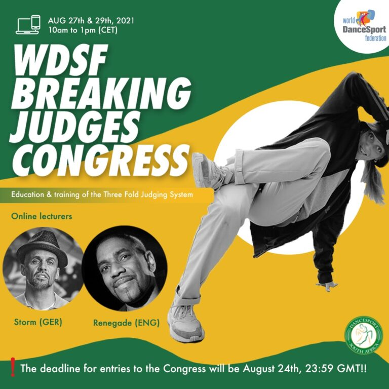 Read more about the article WDSF Breaking Division is pleased to announce the second WDSF Breaking Judges Congress on the Three Fold Judging System end of August